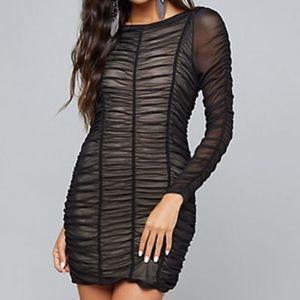 Ruched Mesh Mini Dress - Bebe